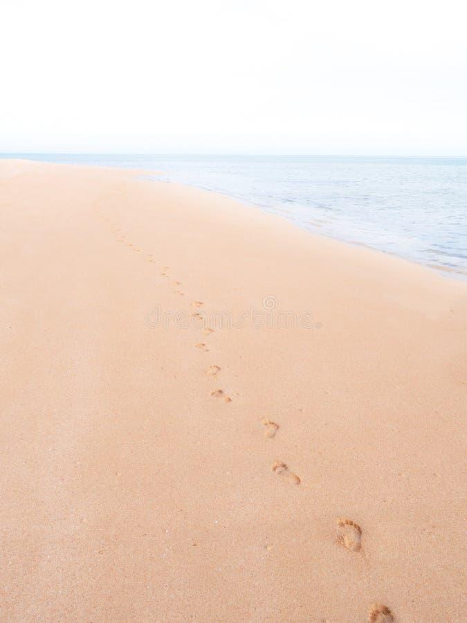 Fotspår på en tom tropisk strand som bleknar in mot horisont arkivbild