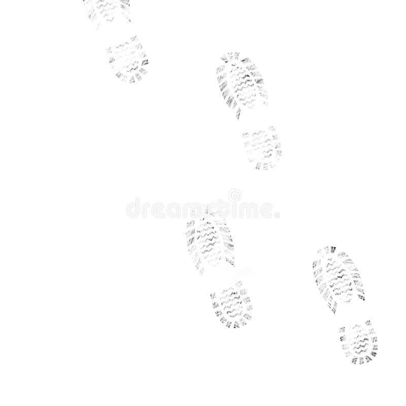 Fotspår på en vit bakgrund royaltyfri fotografi