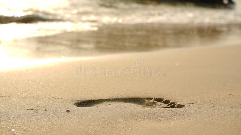 Fotspår på strandsand och svallavåg royaltyfria bilder
