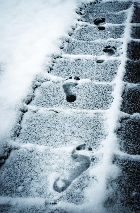 Fotspårfot på den snöig trottoaren arkivbild