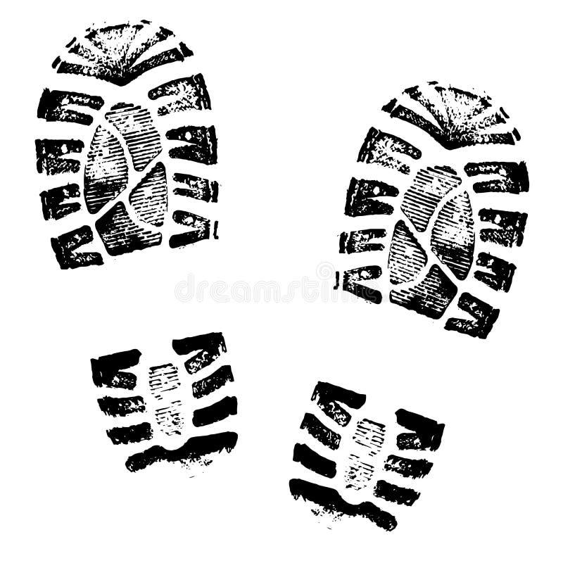 Fotspårmänniskan skor konturn på vit bakgrund stock illustrationer