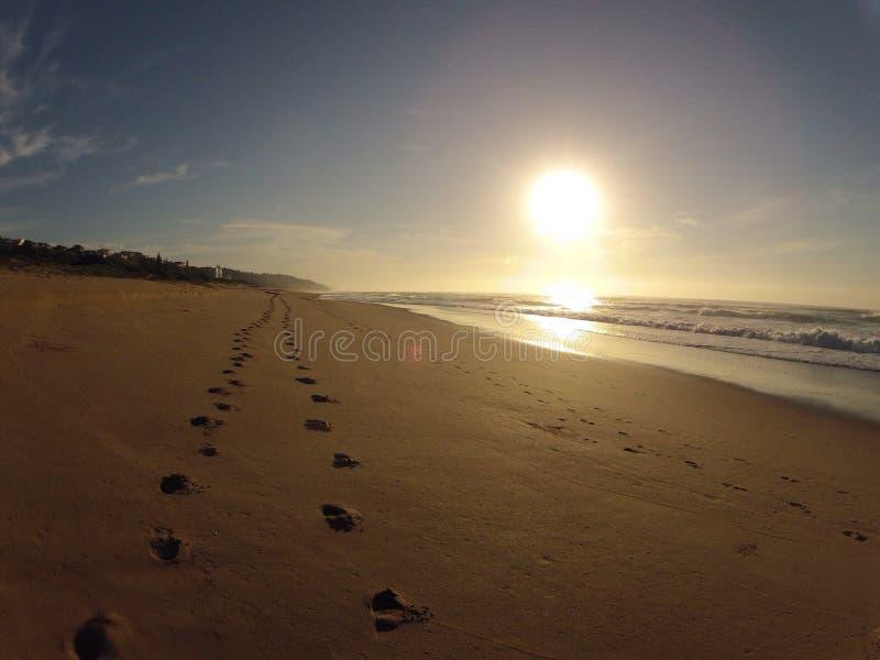 Fotsteg i sand royaltyfri fotografi