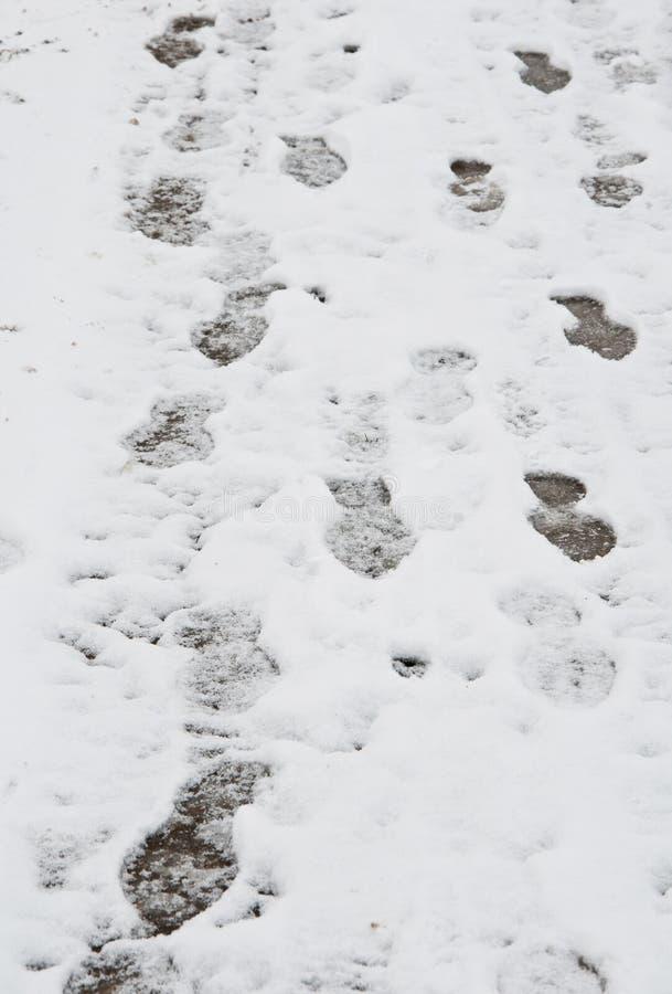 Fotsteg i snowen arkivfoton