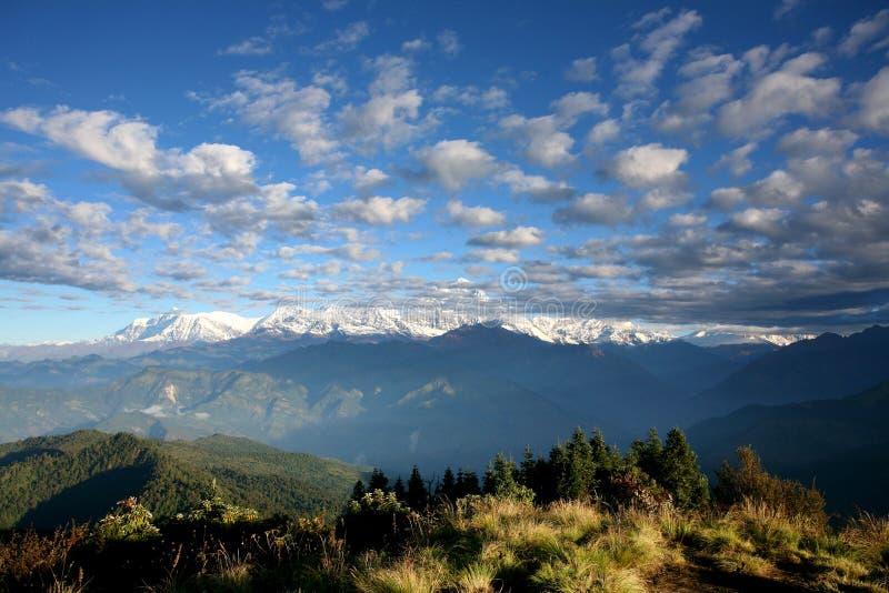 fotvandra berg för annapurna som ska bakkants visat royaltyfria bilder