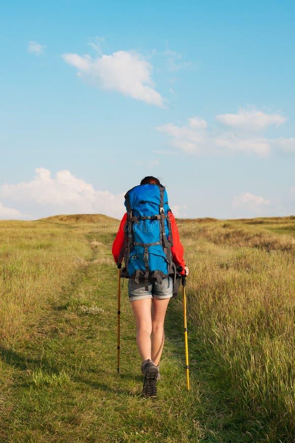 Fotvandra den unga kvinnan med ryggsäcken och trekking av att gå för poler royaltyfri fotografi