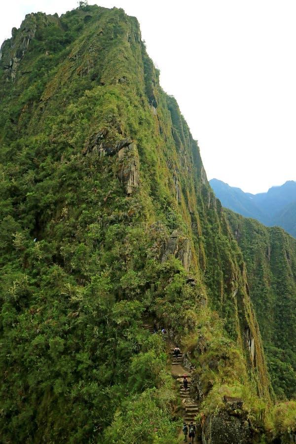 Fotvandra det Huayna Picchu berget på Machu Picchu den historiska platsen i den Cusco regionen, Peru fotografering för bildbyråer