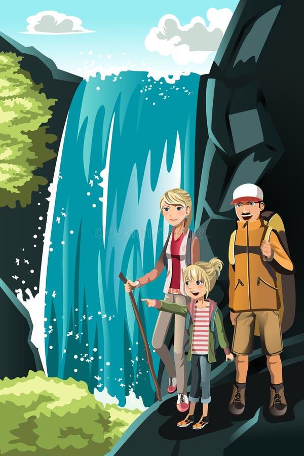 fotvandra för familj vektor illustrationer