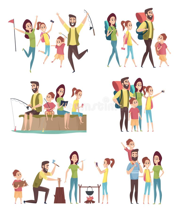 Fotvandra f?r familj Par med ungar som undersöker lyckligt affärsföretag för handelsresandeturister i campa vektortecken för berg stock illustrationer