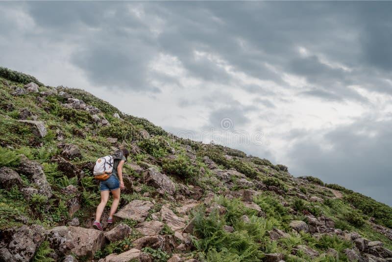 Fotvandra - fotvandrarekvinna på trek med ryggsäcken som bor sund aktiv livsstil Fotvandrareflicka som går på vandring i berg royaltyfria bilder