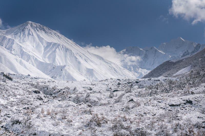 Fotvandra i den Langtang dalen som t?ckas i sn? royaltyfria bilder