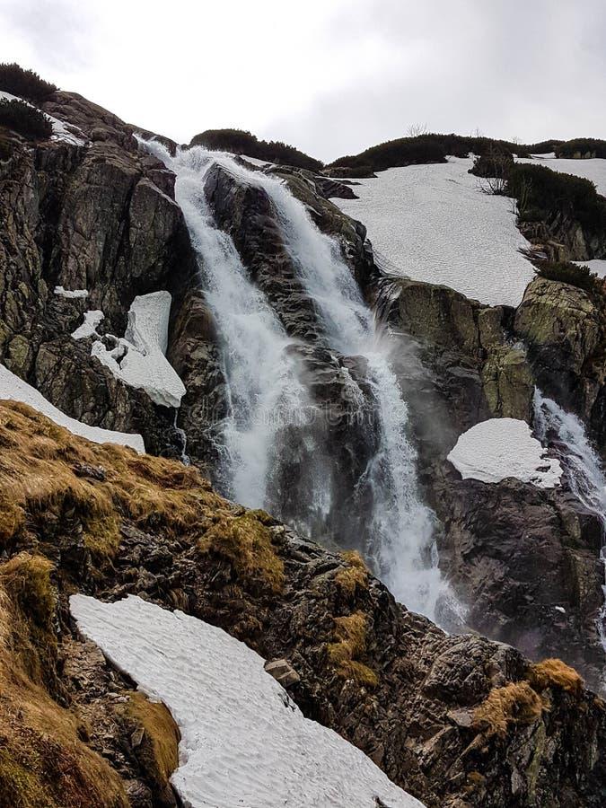 Fotvandra i den Tatra nationalparken, Polen, i Maj Härlig panoramautsikt på steniga berg och en vattenfall royaltyfri fotografi