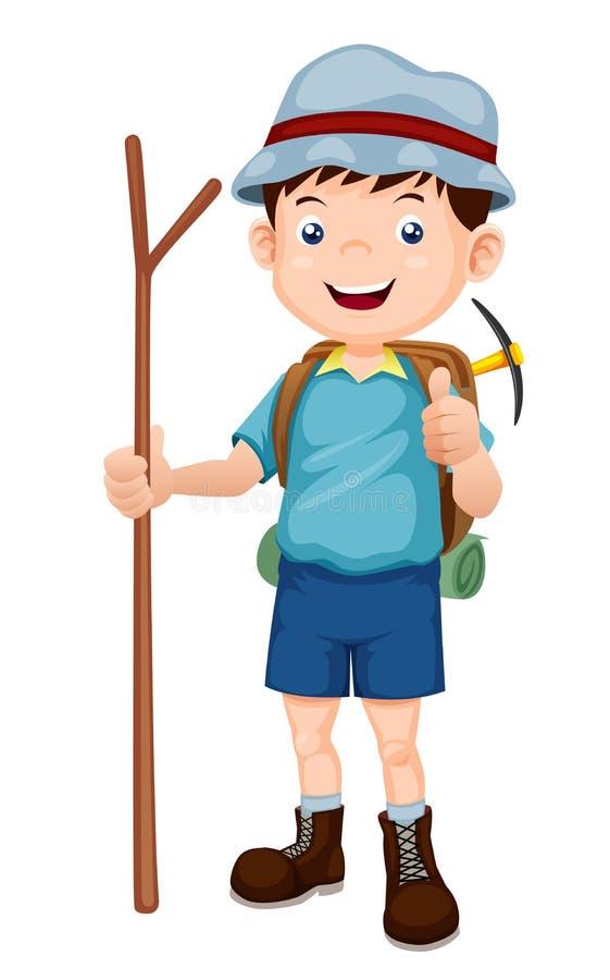 Fotvandra illustration för pojke vektor illustrationer