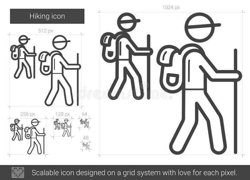 Fotvandra linjen symbol stock illustrationer
