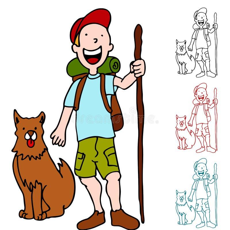 fotvandra man för hund vektor illustrationer