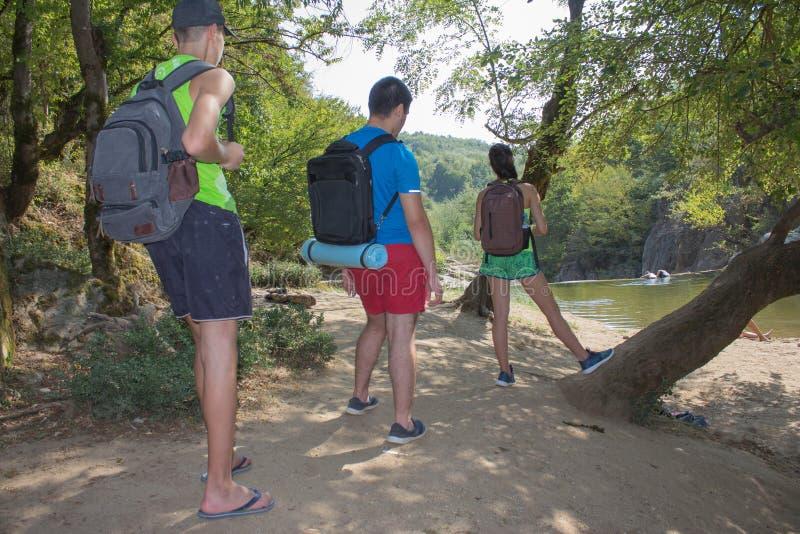 Fotvandra med vänner i den naturen en solig dag Äventyra, resa, turism, aktiv vilar, vandringen och folkkamratskapbegreppet arkivfoto