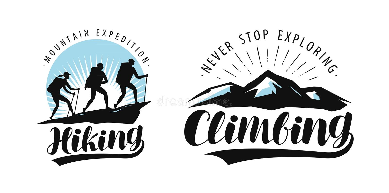 Fotvandra och att klättra logo eller etiketten Campa tur, expeditionemblem Bokstävervektor vektor illustrationer