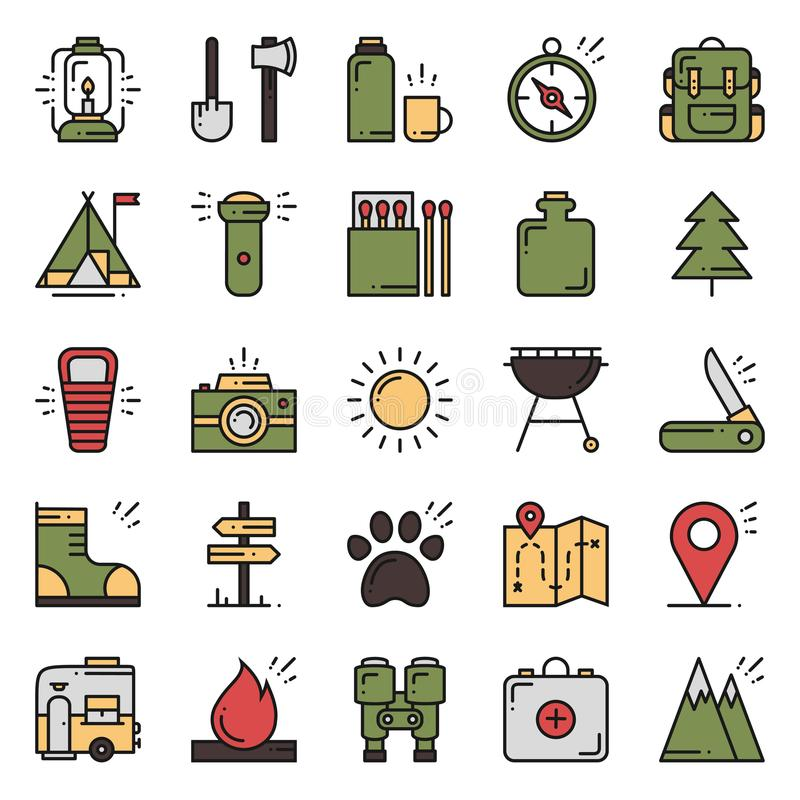 Fotvandra och campa linje symbolsuppsättning Utomhus- lägertecken och symbol Vandra affärsföretag Campa material och tillbehör vektor illustrationer