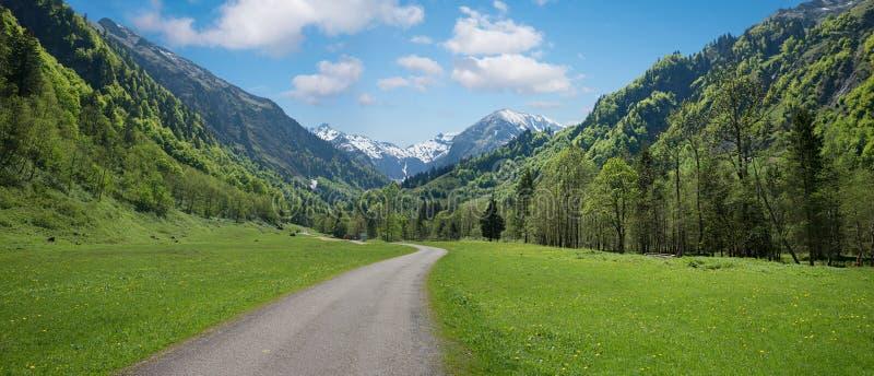 Fotvandra områdestrettachdalen nära oberstdorf allgaufjällängar arkivfoton