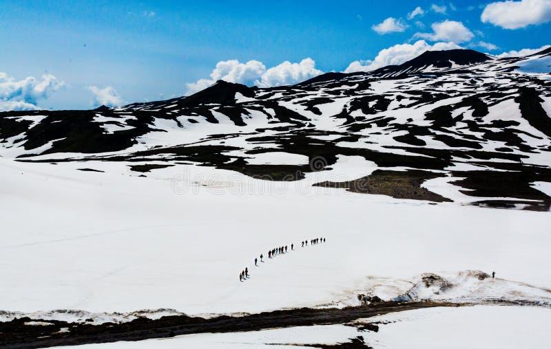 Fotvandra på Kamchatka: gruppen av fotvandraren med ryggsäcken går i mounta arkivbilder