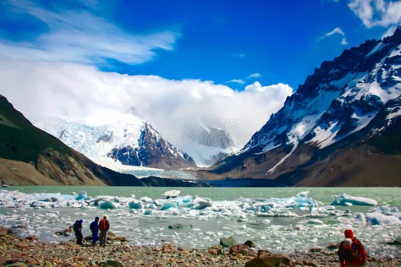 Fotvandra Patagonia arkivfoton