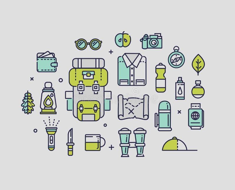 Fotvandra semesterbegreppsillustrationen, tunn linje, lägenhetdesign stock illustrationer