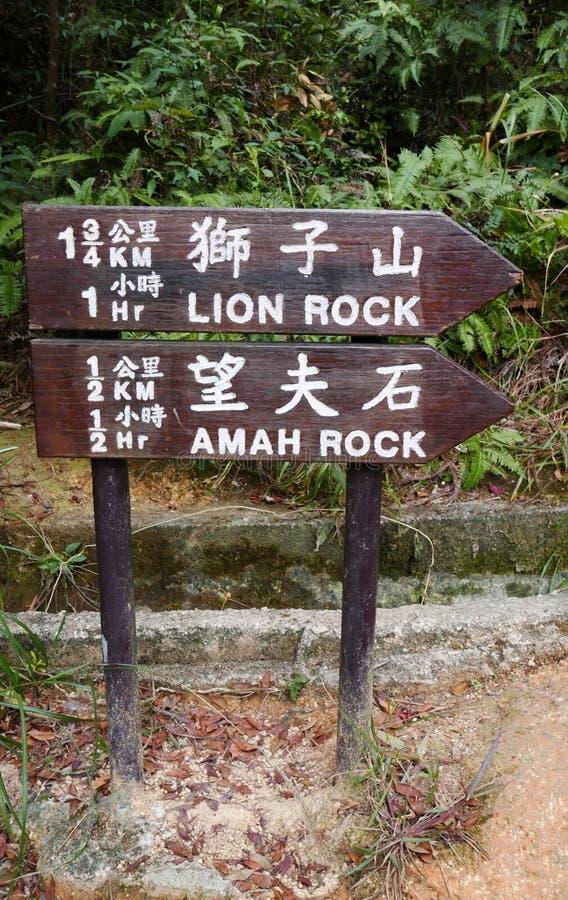 Fotvandra Signages i Hong Kong Country Park arkivbild
