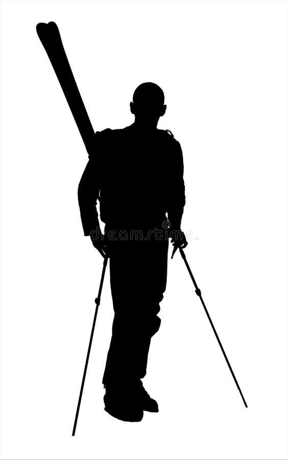 fotvandra skier för silhouette a13 arkivfoton