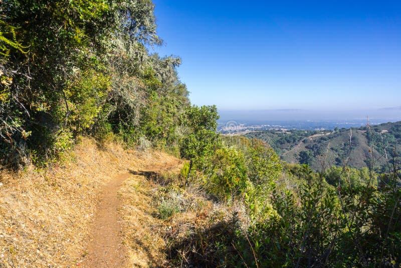 Fotvandra slinga i Palo Alto Foothills Park arkivbilder