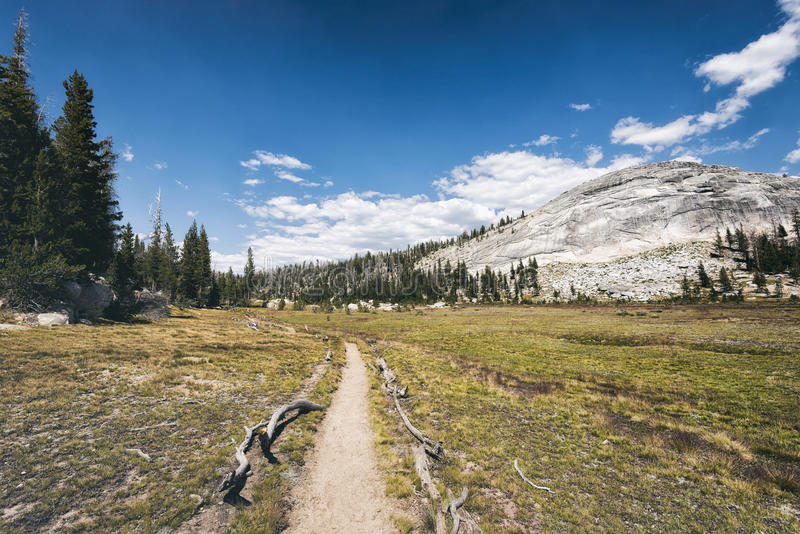 Fotvandra slingan i toppiga bergskedjan Nevada Mountains royaltyfria bilder