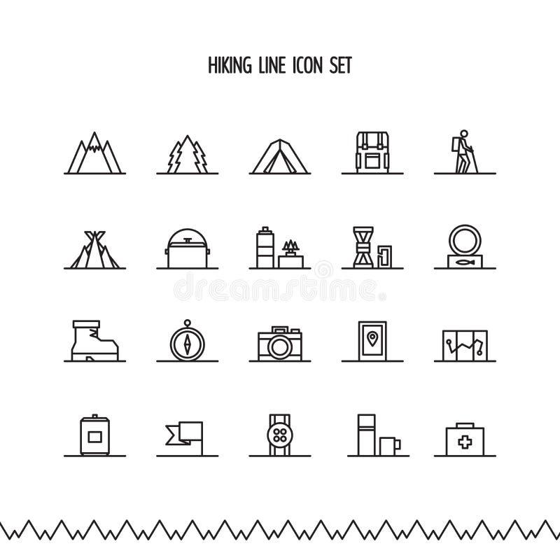 Fotvandra, trekking- och campalinje symbolsuppsättning Vektorillustration, lägenhetstil royaltyfri illustrationer