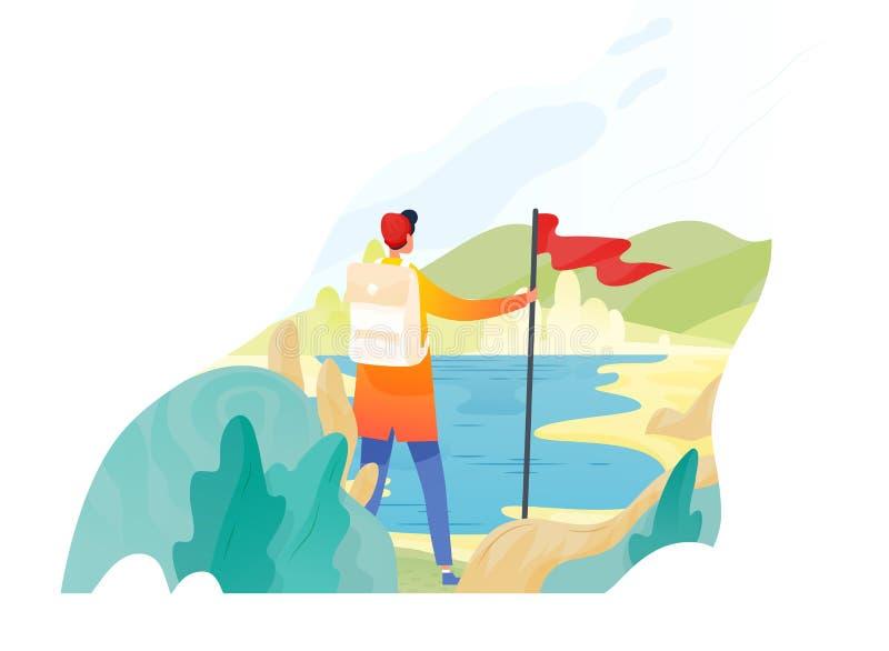 Fotvandrare-, fotvandrare-, handelsresande- eller utforskareanseende som rymmer den röda flaggan och ser naturen Fotvandra och at royaltyfri illustrationer