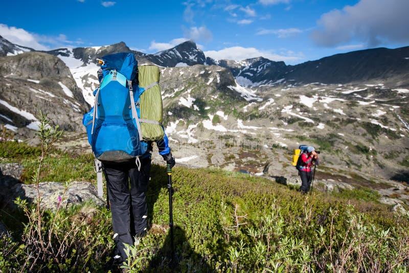 Fotvandrare i Altai berg arkivfoto
