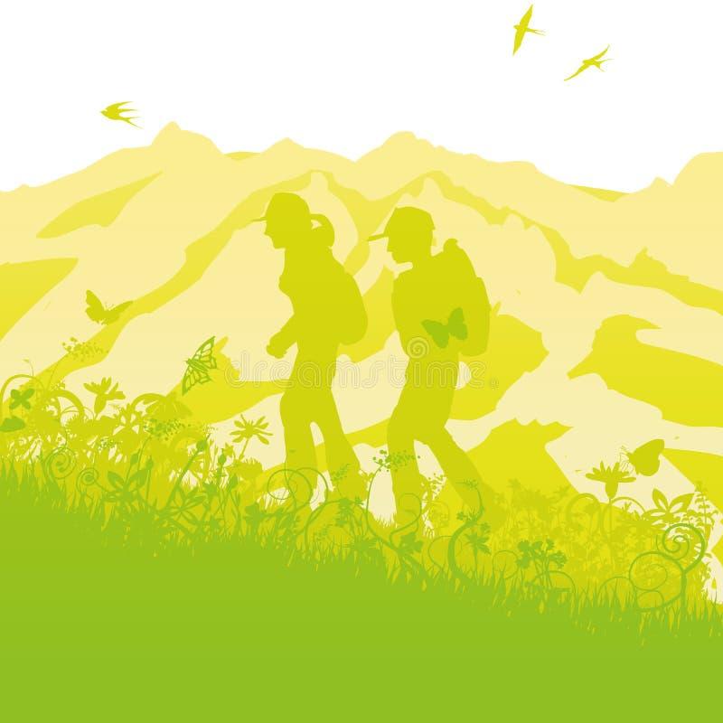 Fotvandrare i de gröna bergen stock illustrationer