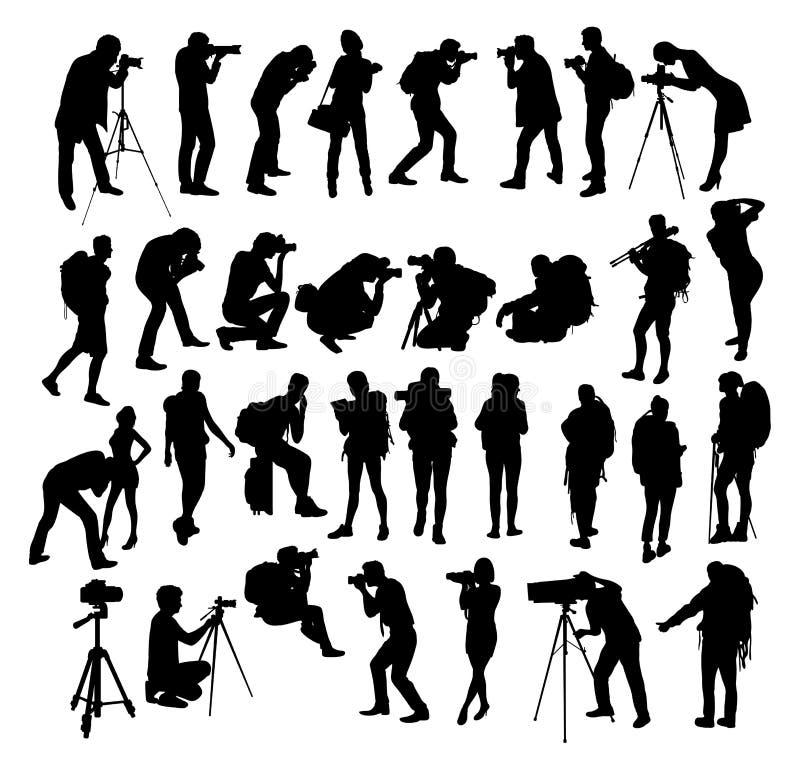 Fotvandrare och fotograf Silhouettes stock illustrationer