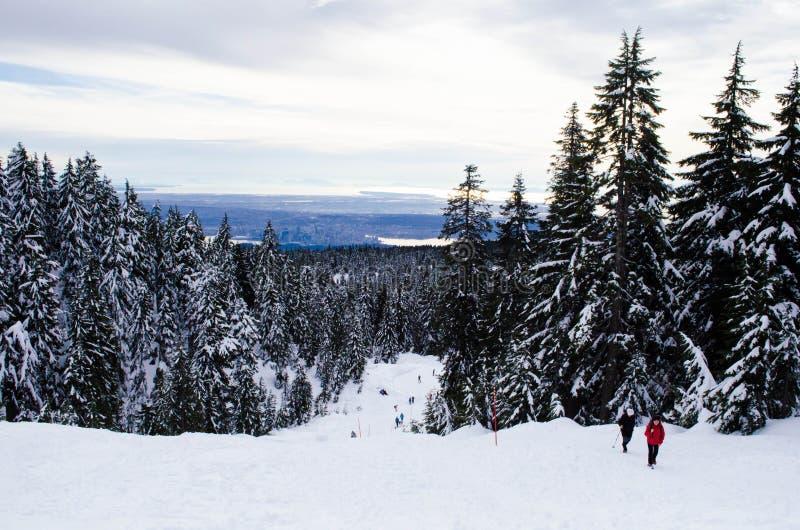 Fotvandrare på det snöig berget i Vancouver royaltyfri foto
