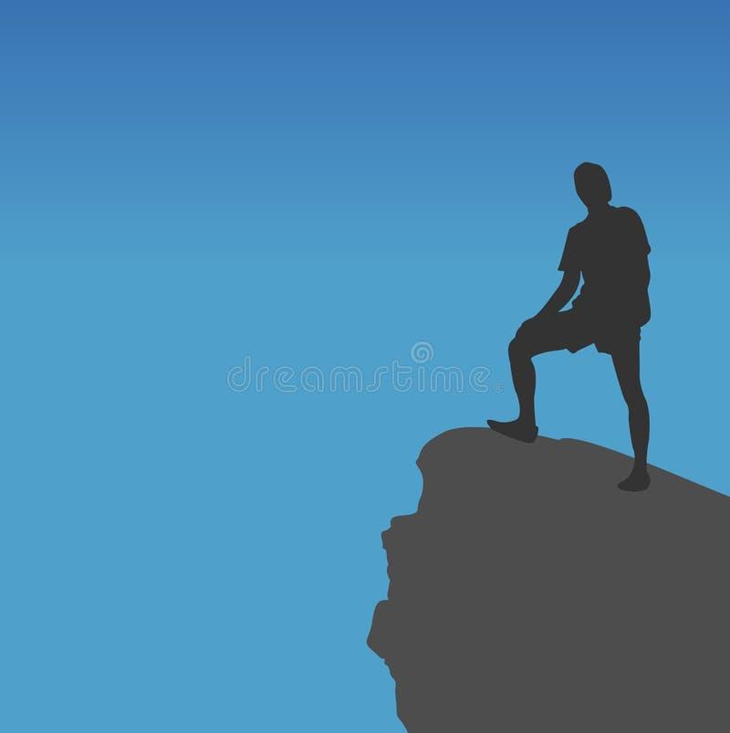 Fotvandrare som överst står av berg, vektor illustrationer