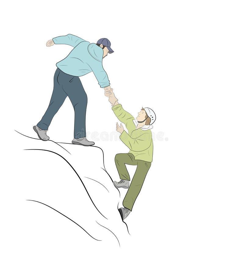 Fotvandrare som klättrar på, vaggar, berg, ett av dem som ger handen vektor illustrationer