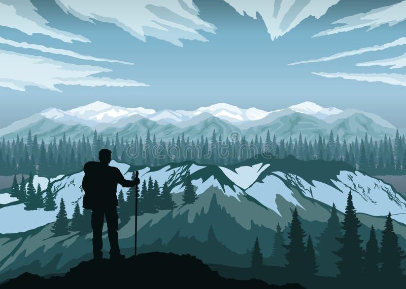 Fotvandrare som tycker om landskap med berg, skogen och himmel maxima för caucasus dombay bergberg royaltyfri illustrationer