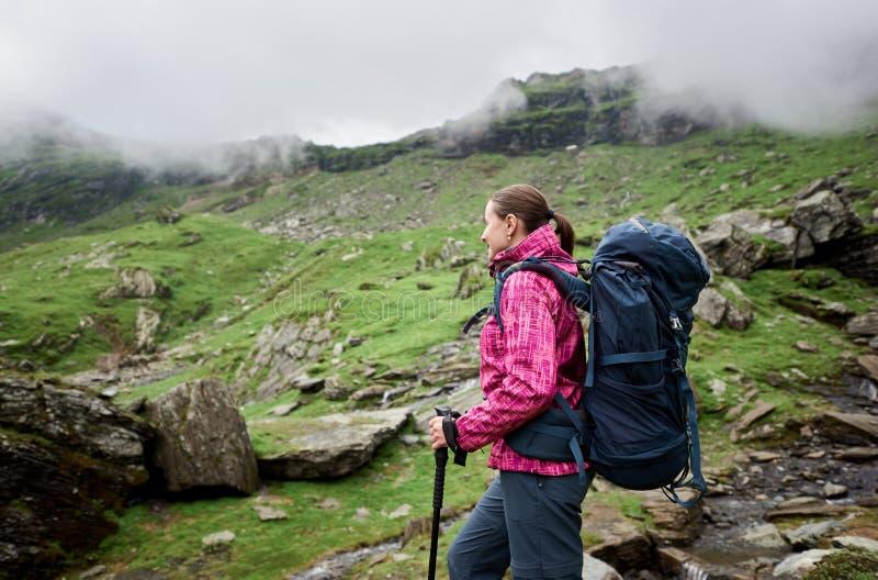Fotvandrarekvinna som trekking i steniga berg för höst royaltyfri foto