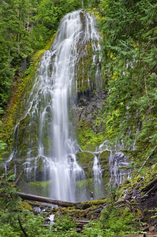 Fotvandrareman i avlägset avstånd som pekar på den massiva vattenfallet fotografering för bildbyråer