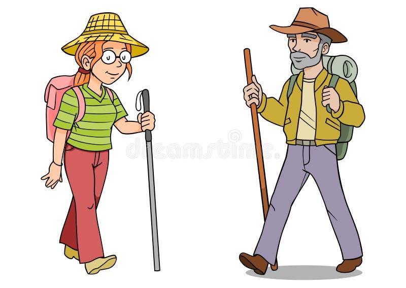 fotvandraremankvinna stock illustrationer