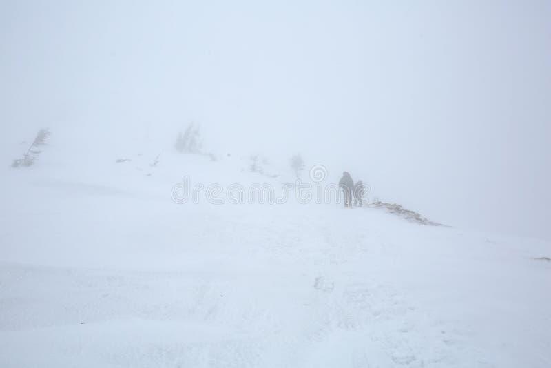 Fotvandraren går i strondåskväder i vinterberg royaltyfri bild