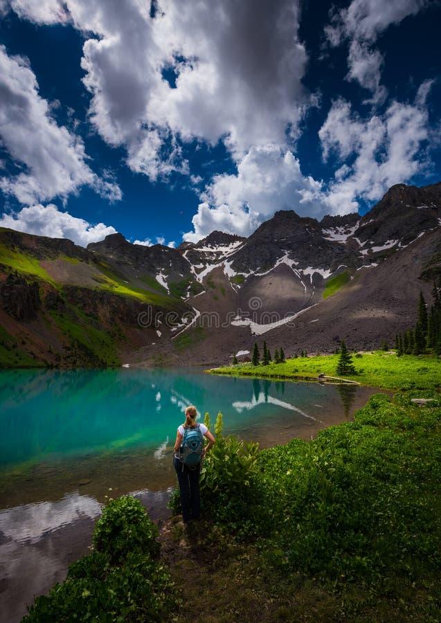 Fotvandraren ser den blåa sjön Ridgway Colorado arkivbild