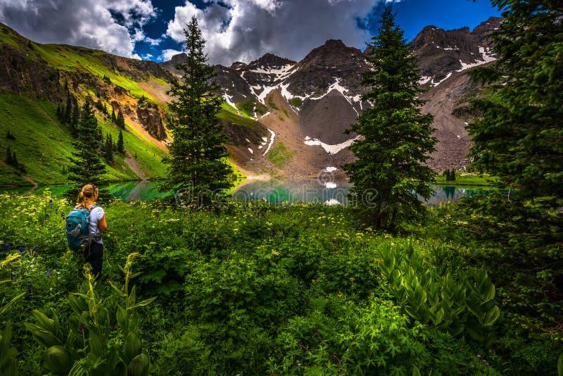 Fotvandraren ser den blåa sjön Ridgway Colorado royaltyfri fotografi