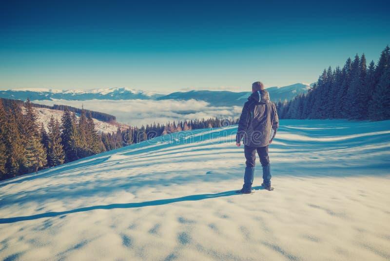 Fotvandraren tycker om majestätiskt vinterlandskap Tappning royaltyfria bilder