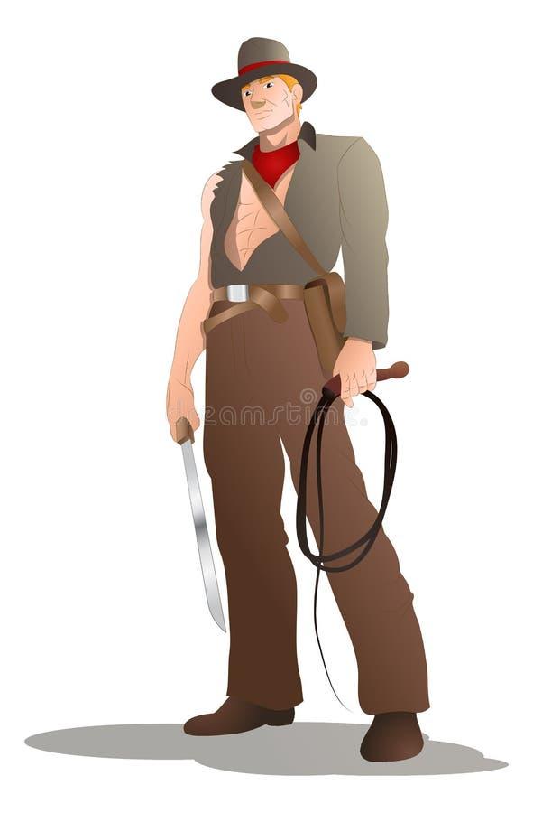 Fouet de prise de cowboy d'aventurier illustration stock