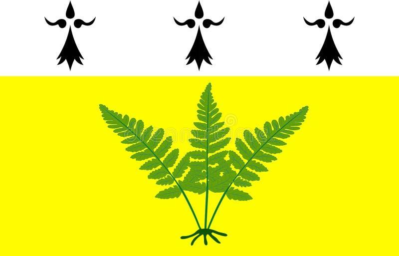 Fougeres旗子在布里坦尼,法国伊勒-维莱讷省  库存例证