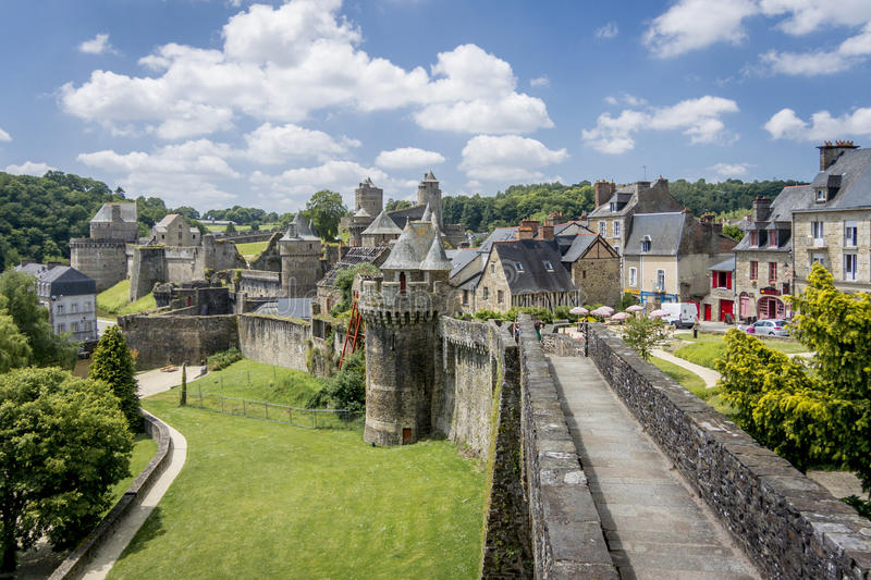 Fougeres City Wall. View of the city wall and castle in Fougeres, Brittany, France stock images