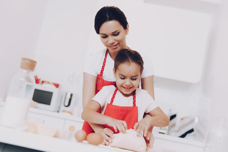 Fough wit Flour in the Kitchen.Good Day for Girl. royalty free stock photos