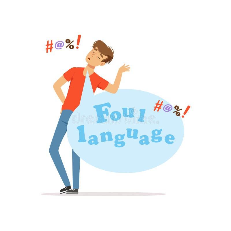 Free Foul Language, Man Swearing, Bad Habit Vector Illustration Stock Image - 102401421